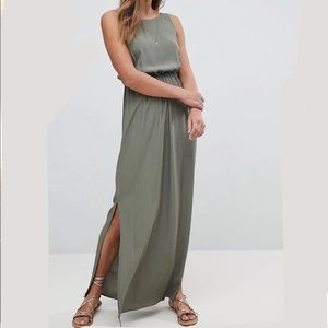 ASOS bow back maxi dress in olive